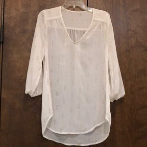 Tops - Gently used sheer white top with gold detail